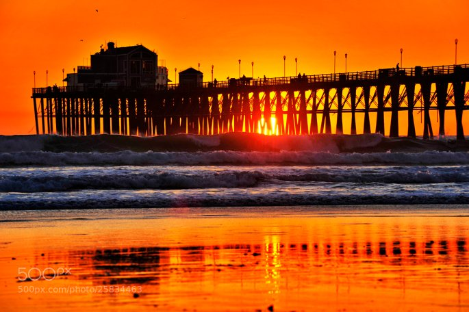 The Sun Peers Thru the Oceanside Pier - February 12, 2013